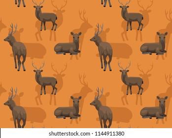 Deer Sambar Cartoon Background Seamless Wallpaper