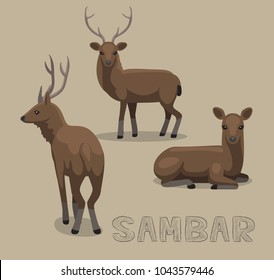 Deer Sambar Cartoon Vector Illustration