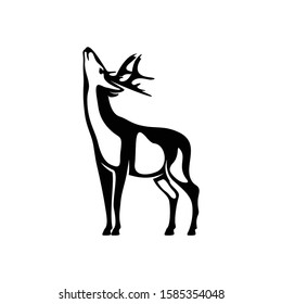 Deer Shilhouette vector ilustration black and white colour design