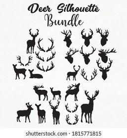Deer silhouette Design Deer Vector pack black and white SVG Sticker graphics