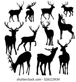 deer silhouette set - vector illustration