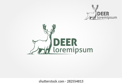 Deer silhouette standing on white  background. Vector logo Illustration