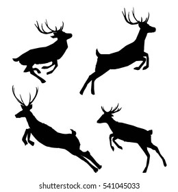 deer silhouette - vector illustration