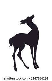 deer silhouette vector, white background