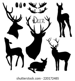 Deer silhouettes set. Hand drawn isolated vintage illustration