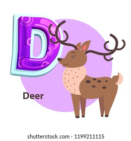 Deer silvan animal with big curved horns for D letter presentation. Zoo ABC flashcard sample with cartoon character for english alphabet remembering.