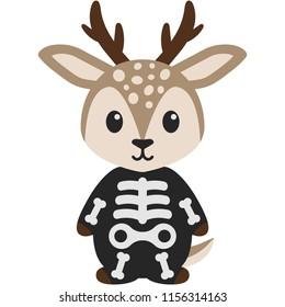 Deer in Skeleton Costume - Cute woodland deer wearing skeleton costume