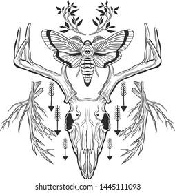 Deer Skull black shirt Tattoo Style Modern Design