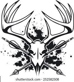 deer skull with crossing hunting arrows