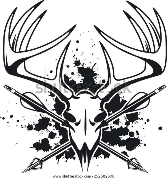 Deer Skull Crossing Hunting Arrows Stock Vector Royalty