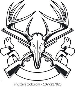 deer skull with crossing hunting rifles and banner