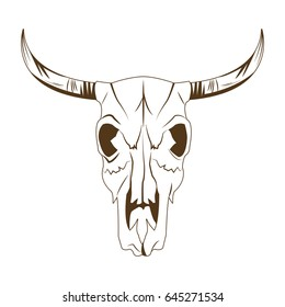 deer skull in tribal style. animal skull with ethnic ornament. wild and free design.