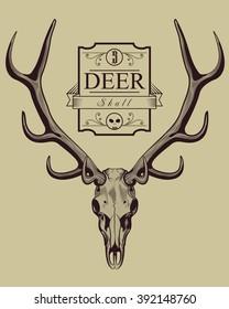 Deer Skull Vintage Engraving Style