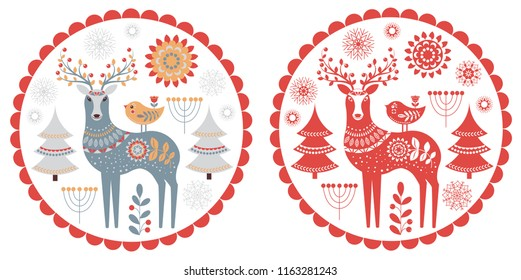 Deer with a small chick, сhristmas trees, snowflakes, flowers. Christmas emblem, postcard. Scandinavian style. Folk art.
