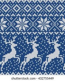 Deer, snowflake. Seamless Knitting Pattern
