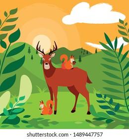 deer and squirrel happy autumn season design