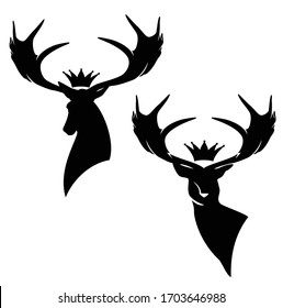 deer stag with large antler horns and royal crown - black and white vector silhouette design set of animal head