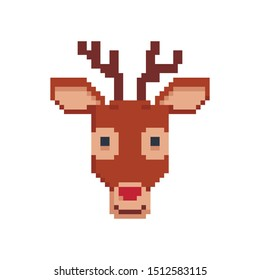 Deer in the style of pixel art. Character icon. Vector illustration isolated on a white background.