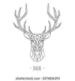 Deer stylized triangle polygonal model. Vector illustration