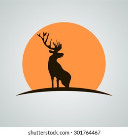 deer, sunset, logo, icon, vector