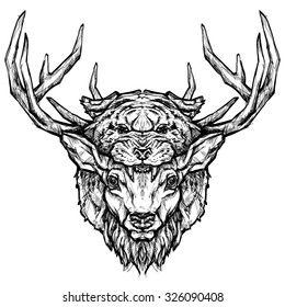 Deer and tiger head tattoo. Psychedelic hand-drawn style illustration