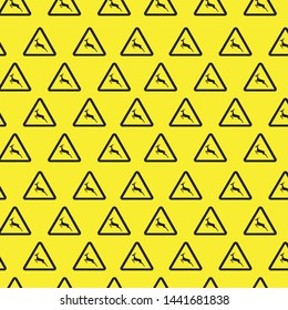 Deer traffic warning sign pattern seamless vector repeat geometric yellow for any design
