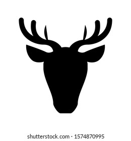 Deer trendy style vector silhouette icon illustration sign isolated on white background for encyclopedia and animal application site