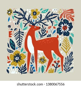 Deer vector hand drawn illustration. Wild animal with antlers drawing in scandinavian style. Cute cartoon reindeer character poster. Multicolor leaves and flowers. Floral flat background
