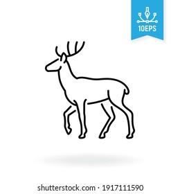 Deer vector icon. Wildlife illustration. Forest animal sign.