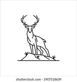 Deer vector line art illustration
