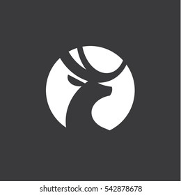 Deer vector logo design wild animal with horns quality stylish, modern illustrations in the style of a graphic sign art