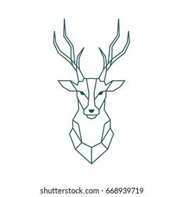 Deer vector logo template. Poster. Print. Elk. Emblem and Design Element. Flat Style. Thin Line Art. Modern Logo. Geometric polygonal design.