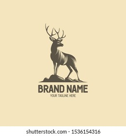 Deer vintage logo collection. Antler badge illustration. Standing buck logo. Deer antlers shilhouette. Vintage wildlife logo. Deer on hills illustration. Eps10.