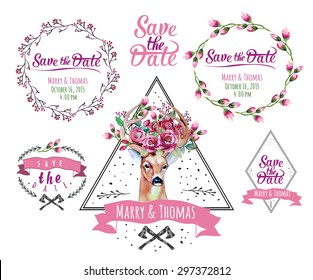 Deer watercolor. Save the date. eps 10 Wedding illustration. Eco style hipster illustration in vector.
