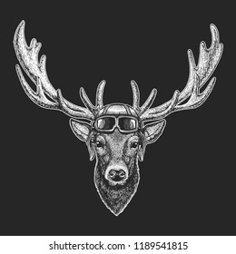 Deer wearing aviator hat. Print for children clothes, tee, t-shirt. Pilot wild animal