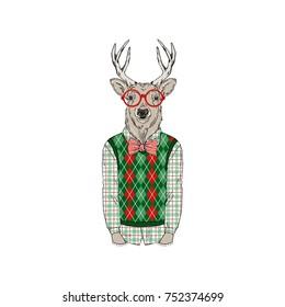 deer wearing  Merry Christmass outfits, furry art illustration