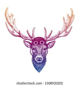Deer wearing vintage aviator leather helmet. Image in retro style. Flying club or motorcycle biker emblem. Vector illustration, print for tee shirt, badge logo patch