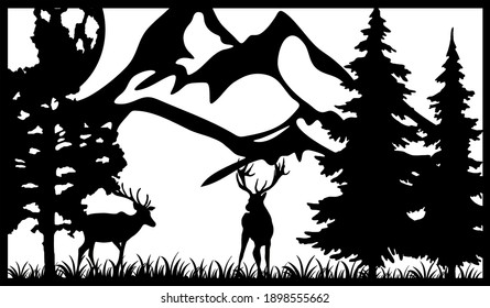 Deer in the wild. Divider panel. Wood carving. Wooden panel. Metal panel. Laser cutting. Plasma cutting. DXF  SVG. Fashionable decor. Outer panel.