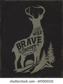 Deer. Wild deer. Vintage illustration typography t-shirt printing.