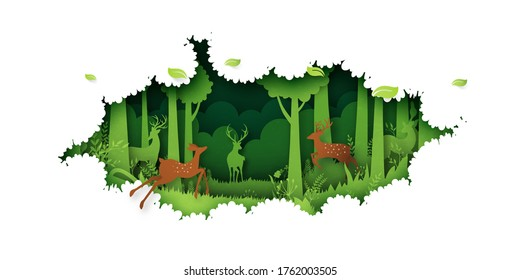 Deer willdlife in green jungle tropical rain forest nature landscape background paper art style.Vector illustration.