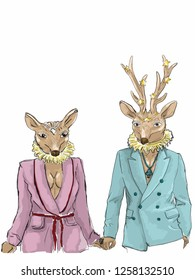 A deer-head hipster couple holding hand while standing wearing fashionable costume and accessories