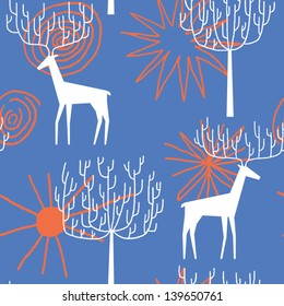 Deers in the forest vector seamless pattern
