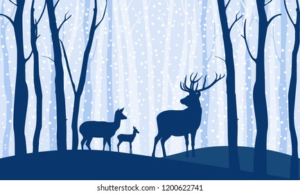 Deers in the forest winter landscape. Deer go through the woods among the trees at dusk, snow falls. Flat vector illustration style.