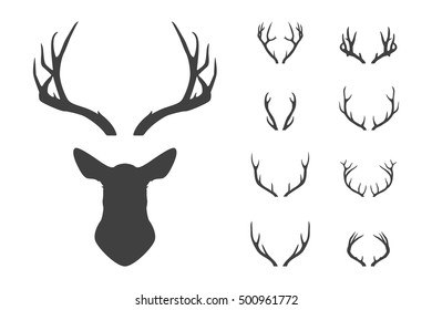Deer's head and antlers set. Design elements of deer. Vector EPS8 illustration.