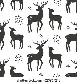 Deers seamless pattern, vector illustration. Black and white animal background with hand drawn reindeer silhouettes. Vintage style