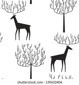 Deers walking among the trees vector seamless pattern