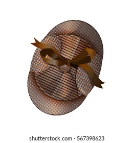 Deerstalker cap in the style of Sherlock Holmes, a top view. Vector illustration isolated on white background for your design, posters, post cards