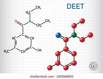 DEET, diethyltoluamide, N,N-Diethyl-meta-toluamide C12H17NO  molecule. It is active ingredient in insect repellents. Sheet of paper in a cage. Vector illustration