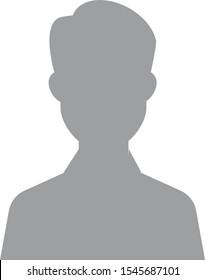 Default avatar profile icon. Grey photo placeholder. Hand drawn, modern, man avatar profile icon (or portrait icon). User flat avatar icon, sign, profile male symbol.