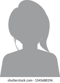 Default avatar profile icon. Grey photo placeholder. Hand drawn, modern, woman avatar profile icon (or portrait icon). User flat avatar icon, sign, profile female symbol.